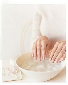 After air drying nails for 1-2 mins, dip nails in ice water for 3 mins to set polish