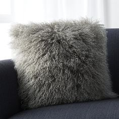 grey mongolian lamb pillow | c&b