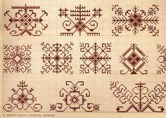Saule and Saules Koks, the sun goddess and sun tree. Life, freedom - the sun rises! Blackwork Embroidery, Folk Embroidery, Cross Stitch Embroidery, Embroidery Patterns, Cross Stitch Patterns, Pagan Cross Stitch, Indian Embroidery, Pagan Symbols, Knitting Charts