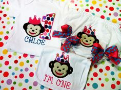 My First Birthday Personalized Princess Monkey by BetterThanBows, $21.95