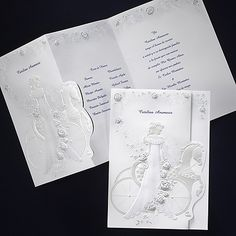 Girl with Blue Dress - Invitation...  The quinceañera is surrounded with gorgeous, blue and pearlized roses and images of her court of honor as she stands beside her horse and carriage.