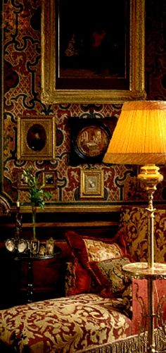 old world style with rich textile sitting room library