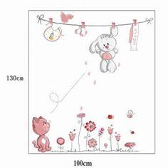Cute Hang Clothes Rabbit Cat Removable Mural Kindergarten Nursery Kids Baby Child Bedroom Decor Self Adhesive Wall Sticker Decal Girls Wall Stickers, Cheap Wall Stickers, Wall Decor Stickers, Wall Decals, Kids Bedroom, Bedroom Decor, World Map Wall Decal, Bunny Nursery, Pink Rabbit