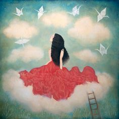 Lady in the sky floating on the clouds with the birds, art by Lucy Campbell