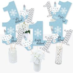 Birthday Party Table Decorations, First Birthday Party Themes, Birthday Themes For Boys, Birthday Party Tables, Birthday Ideas, First Birthday Winter, Winter Wonderland Birthday, Winter Wonderland Centerpieces, Big Dot Of Happiness