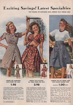 Summer Outfit Inspiration from the Summer 1942 Sale Chicago Mail Order Company 1940s Fashion, Vintage Fashion, Edwardian Fashion, Vintage Dresses, Vintage Outfits, 1940s Dresses, 1940s Outfits, Estilo Pin Up, Vintage Mode