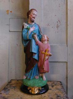 Oud Antieke Religieus Beeld - Joseph (Jozef) met Jezus en Witte Lelies
