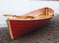 This is a wonderful double ended lapstrake rowing boat originally conceived by L. Francis Herreshoff and drawn, then modified by John Gardner. Herreshoff was a renowned yacht designer and Gardner was the assistant curator of the Mystic Seaport maritime museum. It is a boat to be rowed, swiftly, even in rough water.
