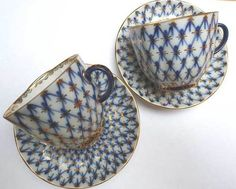 VINTAGE PAIR OF Russian Lomonosov Porcelain TEA CUP & SAUCER COBALT NET.i l love this china pattern!