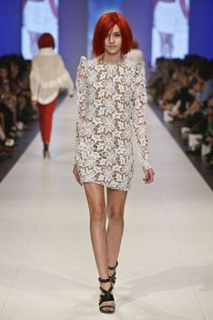 Lucette long sleeve white dress shown during Mercedes Benz Fashion Week