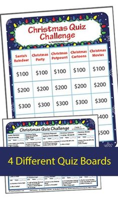 Jeopardy style Christmas game - Christmas Quiz Challenge - 4 Boards, so play 4 times.