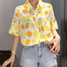 Lemon Button Up Shirt Colors) sold by Megoosta Fashion. Shop more products from Megoosta Fashion on Storenvy, the home of independent small businesses all over the world. Vintage Outfits, Funky Outfits, Casual Outfits, Fashion Outfits, Fashion Shirts, Aesthetic Fashion, Aesthetic Clothes, Quirky Fashion, Hipster Rock