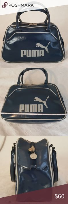 Vintage Puma bowling bag tote Stay vintage even while burning  calories. This beautiful tote is perfect for your gym gear! Not to big, Yet it easily fits a pair of gym shoes water bottle gym clothes and even a small towel. What more could you ask for!   You can also use it for your every day bag!  It  features a sturdy poly material outside  and in  with one zipper pocket inside shown in the last picture and a large open area.   Some minor scuffs on the bottom to be expected but shown in the…