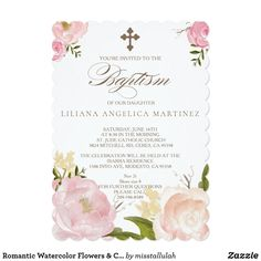 Customizable Invitation made by Zazzle Invitations. Baptism Invitations Girl, Zazzle Invitations, Baptism Cards, Baby Girl Baptism, Baptism Ideas, Baptisms, Create Your Own Invitations, Youre Invited, Pink Peonies