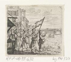 Trijn van Leemput trekt met een groepje vrouwen op naar het kasteel Vredenburg, 1577, anoniem, 1637 - 1639