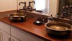 natural wooden countertop in bathroom