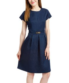 Another great find on #zulily! Navy Belted Fit & Flare Dress #zulilyfinds