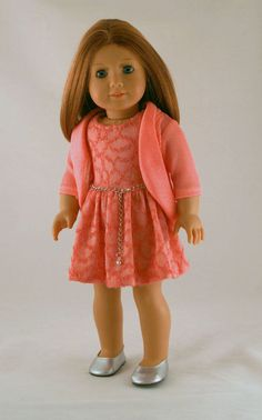 American Girl Doll Clothes - Spring Dress in Coral Knit, Sparkly Knit  Jacket, and Chain Belt perfect v day or date <3
