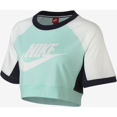 Nike Sportswear Women's Short Sleeve Top. Nike.com ($45) ❤ liked on Polyvore featuring tops, nike top, short sleeve tops, nike and green top