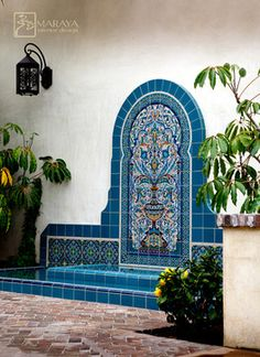 Blue Malibu Tile Fountain - mediterranean - landscape - los angeles - Maraya Interior Design