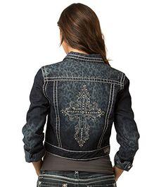 Rubberband Jeans Women's Denim Jacket (Jamie / Dark Leopard / Cross Back) * Click image to review more details.