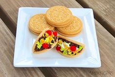 A Cinco De Mayo Treat!  Make these adorable bite-size taco cookies for Cinco de Mayo or any future fiesta! Just a few simple ingredients to assemble — no baking required.