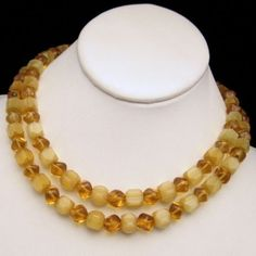 #MidCentury #Trifari Yellow Satin #Glass Beads #Necklace Vintage Jewelry from #MyClassicJewelry #GotVintage