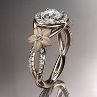 14kt rose gold diamond leaf and vine wedding ring,engagement ring,wedding band ADLR127