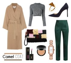 """""""Wear a Camel Coat!"""" by mariannamic on Polyvore featuring Rosie Assoulin, Carven, Loewe, Lizzie Fortunato Jewels, Jimmy Choo, Yves Saint Laurent, Bare Escentuals, Marc Jacobs, Ona Chan and Winter"""