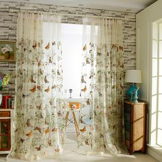 Home Decor Window Luxury Sheer Curtains For The Bedroom Butterfly Embroidery Flower Tulle Free Shipping 150x260cm