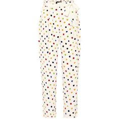Anna October Cropped Polka-Dot Trousers ($280) ❤ liked on Polyvore featuring pants, capris, multicoloured, trousers, wide-leg, white wide leg pants, polka dot pants, white polka dot pants, wide leg pants and wide leg cropped pants