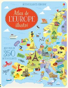 """Sticker picture atlas of Europe"" at Usborne Children's Books Europe Day, Europe News, Buy Stickers, Flora Und Fauna, Atlas, Free Activities, Illustrations, Illustration Art, Trip Planning"
