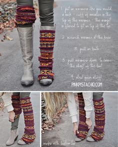 I haven't tried this over boots, but I recently unstiched the sleeves from a nice old wool sweater and wear them armpit side up as leg warmers over leggings around the house.  The shape of the armpit covers my knees.  Really cozy!