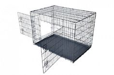 Black 2 Door Pet Cage Folding Dog w/Divider Cat Crate Cage Kennel w/Tray House *** Special dog product just for you. Extra Large Dog Crate, Large Dogs, Dog Cages, Pet Cage, Steel Dog Crate, Cat Crate, Dog Collar Boy, Pet Kennels, American Eskimo Dog