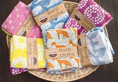 Organic Burp Cloths by Zebi Baby Baby Blossom Modern Cloth Nappies