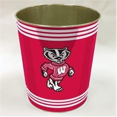 Wisconsin Badgers Metal Waste Basket