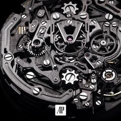 The 2923 calibre operates at a frequency of 4 Hertz = 2880 vibrations/hour. It features a variable-inertia balance wheel and is then capable of recording times down to 1/8 of a second.  #AudemarsPiguet #craftsmanship #Swissmade #watchmaking #watch #Laptimer #horology by audemarspiguet