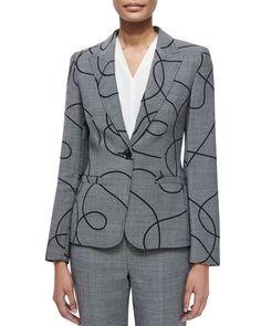 Swirl End-on-End Blazer, Black, Size: 12/42 - Escada