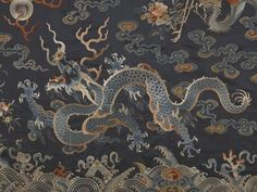 Nineteenth-century Chinese textile featuring a dragon and auspicious symbols. (Indianapolis Museum of Art)