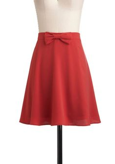 Luck of the Strawberry Skirt - Red, Solid, Bows, A-line, Mid-length, Work, Casual, Vintage Inspired, Scholastic/Collegiate, Fall