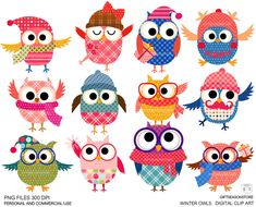 Winter owls Digital clip art for Personal and by Giftseasonstore