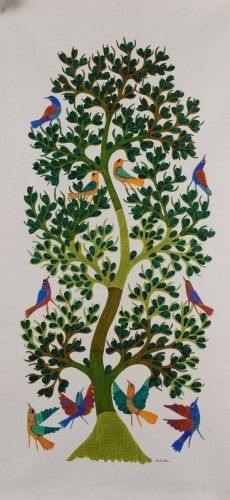 Artforconcern : Your Destination for Modern & Contemporary Indian Art. Wall Painting Decor, Garden Painting, Traditional Paintings, Traditional Art, Indian Wall Art, Kalamkari Painting, Fork Art, Fabric Paint Designs, Madhubani Art