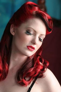 Red retro vintage hairstyle
