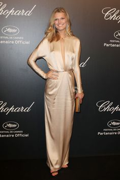 Toni Garrn in Blumarine. See all the looks from Chopard's Gold Party at Cannes.