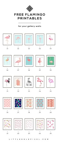 Free Flamingo Printables for Your Summer Decor • Little Gold Pixel