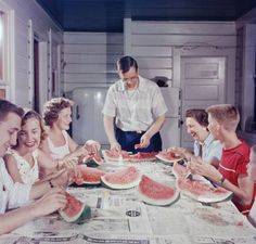 1954 Family Fun!  As of 2014, I don't believe you can even buy a watermelon with seeds at the grocery store.  I quite honestly don't miss them.  I also don't miss the seeds in grapes either.
