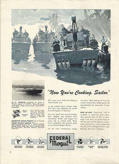 1945 WW II Federal Mogul Ad- Navy PT Boat 117