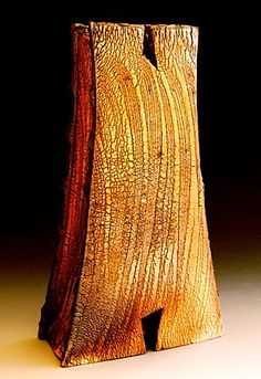 Akira Satake - Gallery Page.  High fire stoneware with a brushed crackle slip.  Wood fired. 13 inches tall.