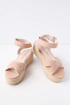 """No look would be complete without the Chinese Laundry Zala Dark Nude Suede Espadrille Flatform Sandals on your feet! Soft faux suede covers crisscrossing toe straps, paired with a wrapping, adjustable ankle strap (and gold buckle). 1.75"""" toe platform."""