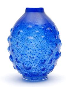 Found on www.botterweg.com - Clear glass Unica vase K 297 with blue colour powders and crackle and with optical bulbs on applied clear glass stand design A.D.Copier 1931-'32 executed by Glasfabriek Leerdam / the Netherlands